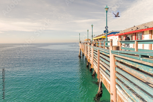 Strolling along the old wood pier, Redondo Beach, California