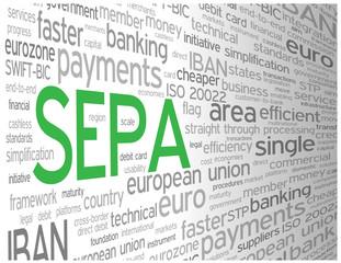 """SEPA"" Tag Cloud (money transfer euro payment transaction)"