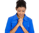 Woman praying for the best, future, health, job, family