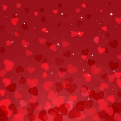 Abstract background with red hearts, illustration.