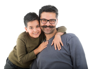 Cheerful Father and Son