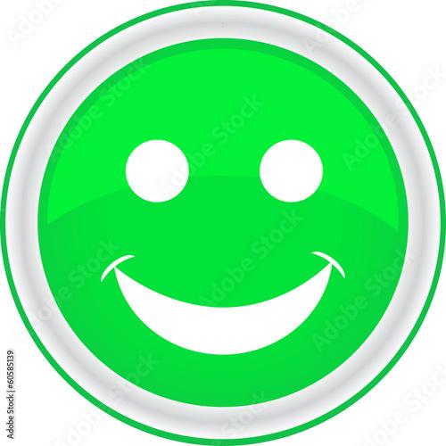 Вектор: Иконка. Смайл зеленый Смайлик Испуганный