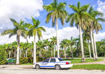 Police car on Miami streets