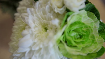 Beautiful wedding bouquet with cabbage leaves