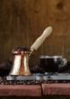Still life coffee cup espresso beans and coffee pot
