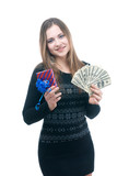 Girl with money and giftbox in her hands