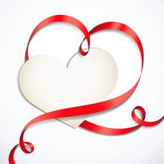 Herzförmige Schleife mit Karte