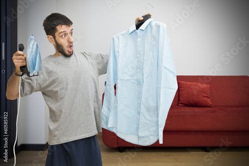 Single man scared about ironing