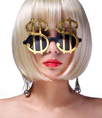 Money Girl. Fashion Blonde Model with Gold Sunglasses