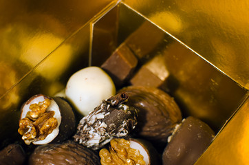 close up of delicious luxury chocolate specialties