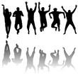 Set of young people silhouettes jumping
