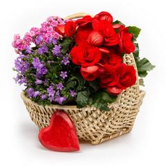 Blumenkorb mit Herz