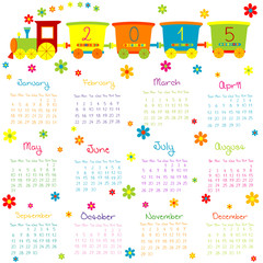 2015 Calendar with toy train and flowers