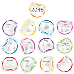 2015 Calendar with round glossy stickers