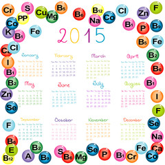 2015 calendar with vitamins and minerals for drugstores and hosp