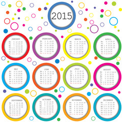2015 Calendar for kids with colored circles
