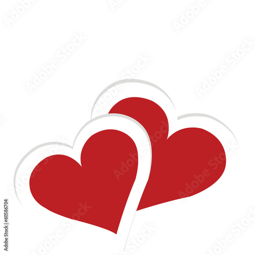 Greeting card with two hearts, Valentine's Day card
