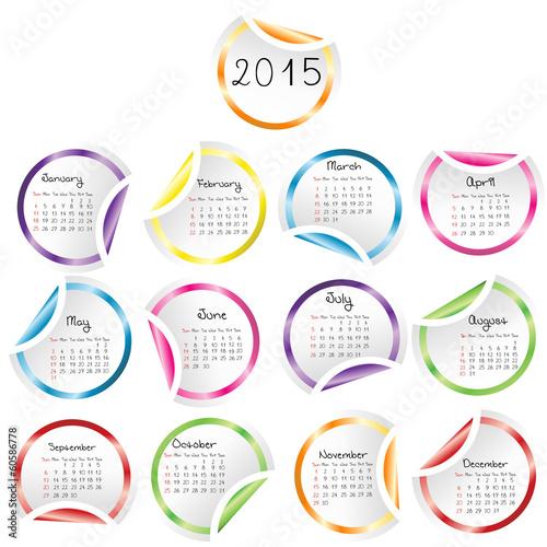 Офисные Наклейки Календарь 2015 Календарь на деревянных - изображение в векторном формате.
