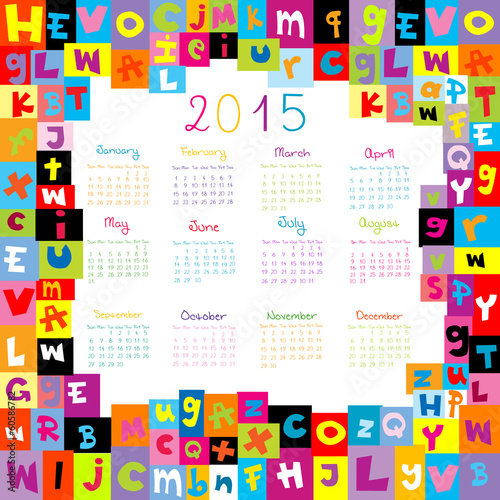 2015 Calendar with letters for schools