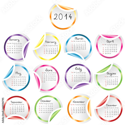 2014 Calendar with round glossy stickers