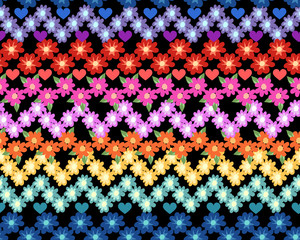 cute rainbow flower zigzag ~ seamless pattern