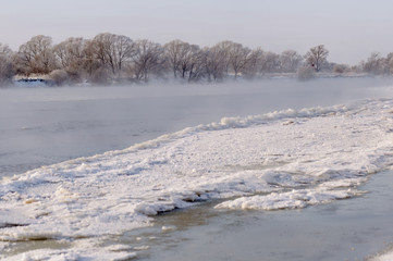 Ice drift on the river in winter
