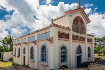 "Church ""Notre dame des laves"" in Piton Sainte Rose"