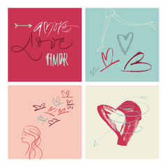 Hand-written Amore Love Amor illustration