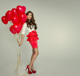 Beautiful woman with red balloon heart shape for valentine's day