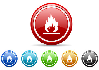 flame icon vector set