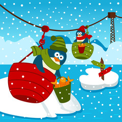 penguin on ropeway - vector illustration