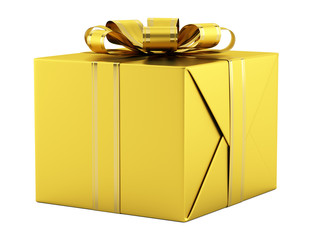 yellow gift box with golden ribbon isolated on white background
