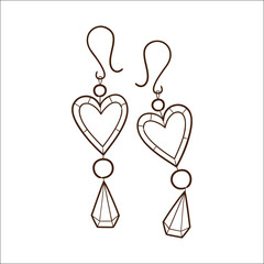Hearts earrings isolated on white.