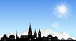 Skyline Bern Berge Sonne