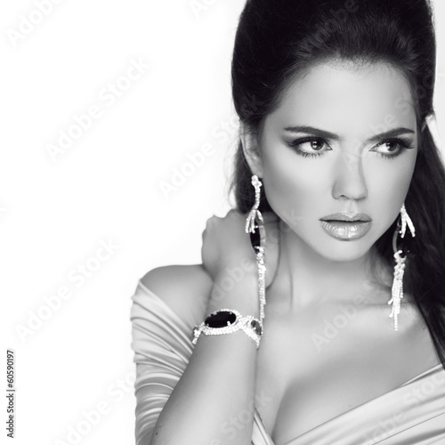 Beautiful woman with jewelry fashion accessories. Black and whit