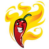 Red devious extremely hot cartoon chili pepper character on fire