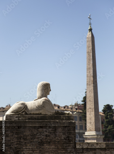 Sphinx and obelisk at Piazza del Popolo in Rome, Italy