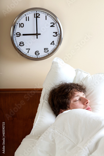 Man sleeping at the morning