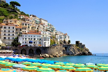 Colorful view over the beaches of the Amalfi Coast, Italy
