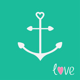 Anchor with shapes of heart. Love card.