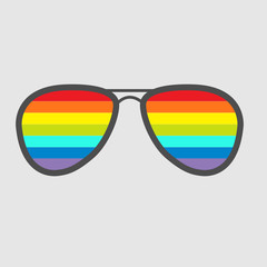 Glasses with rainbow lenses. Isolated icon.