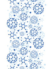 Vector blue molecules texture vertical seamless pattern