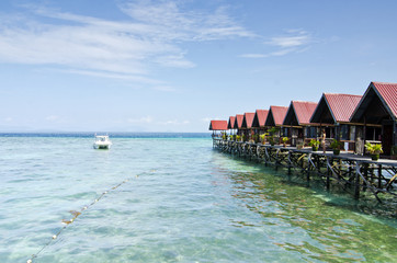 Mabul Island view Turquoise Tropical Paradise Borneo from floati