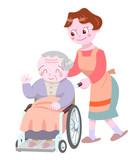 ヘルパーと車椅子のお婆さん
