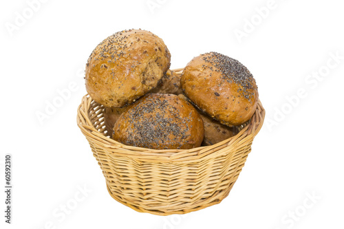 Baking in a wicker bread bins on white background