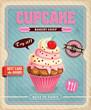 Vintage cupcake poster design