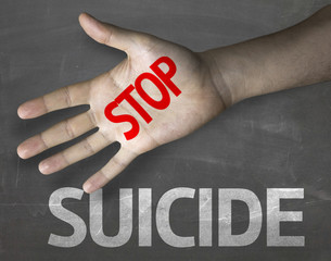 Educational composition with the message Stop Suicide