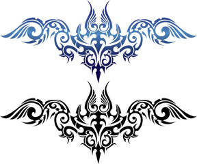 Wing abstract tribal art for tattoo on white background