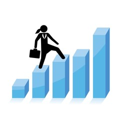 business growth concept, business woman climbs graph bars