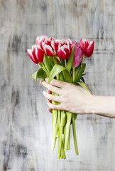 Bouquet of tulips in beautiful hands